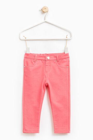 Pantaloni misto cotone stretch, Rosa corallo, hi-res