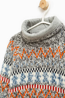 Knitted pullover with high neck and pattern, Navy Blue, hi-res