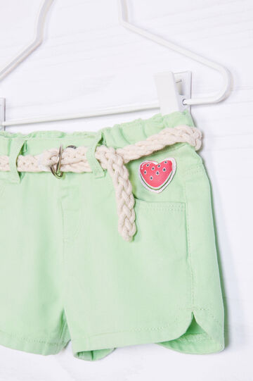Solid colour 100% cotton shorts, Green, hi-res