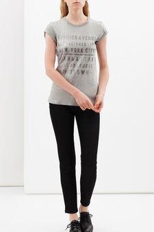T-shirt con stampa lettering, Grigio argento, hi-res