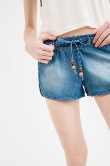 Denim shorts with drawstring with beads, Medium Wash, hi-res