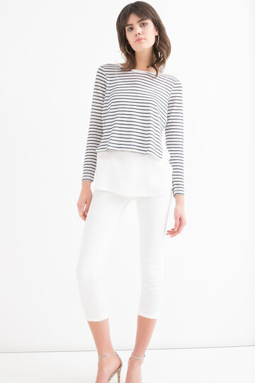 Stretch T-shirt with round neck, Milky White, hi-res