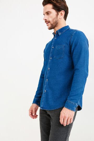 G&H casual denim shirt with pockets, Denim Blue, hi-res