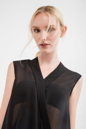 Semi-sheer sleeveless blouse, Black, hi-res