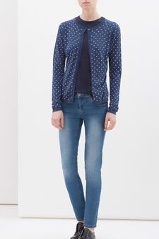 100% cotton printed cardigan, Denim Blue, hi-res
