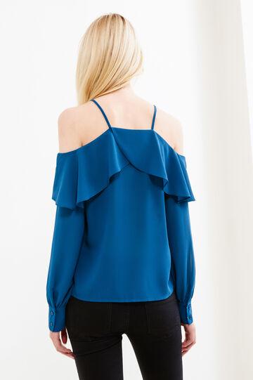 Solid colour blouse with flounces, Petrol Blue, hi-res