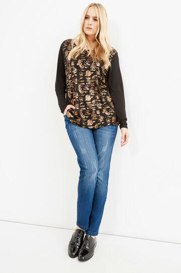 Curvy T-shirt with print in 100% viscose, Black, hi-res