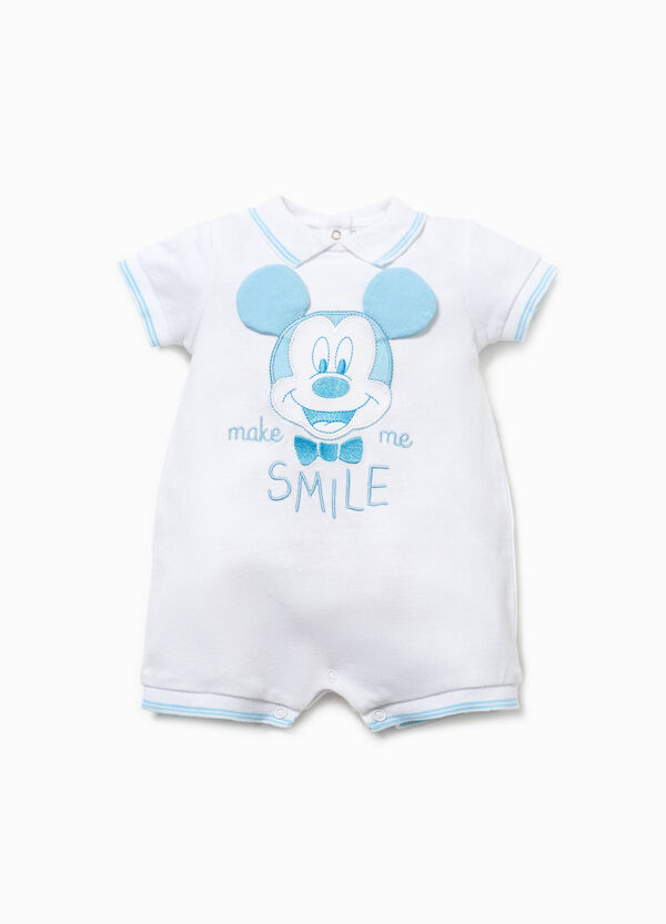 Mickey Mouse romper suit with embroidery and patch | OVS