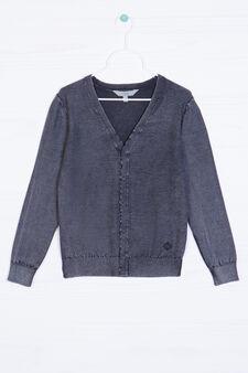 Cardigan scollo a V lavorato tricot, Grigio, hi-res