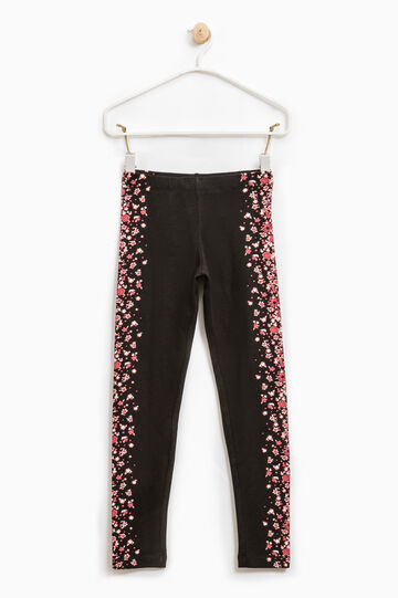 Printed stretch cotton leggings, Black, hi-res