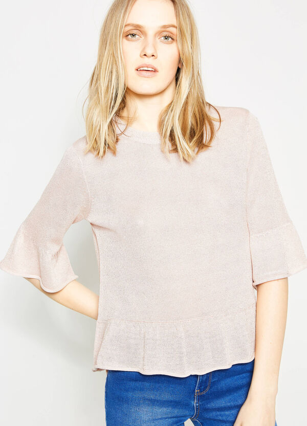 Viscose and lurex pullover with flounces | OVS