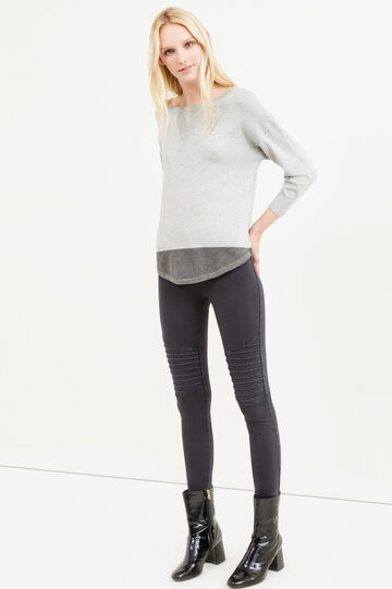 Viscose blend pullover with three-quarter sleeves, Grey, hi-res