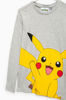 Pikachu print cotton T-shirt, Grey Marl, hi-res