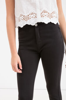 Pantaloni cotone stretch Teen, Nero, hi-res