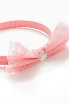 Hairband with diamantés and bow, Pink, hi-res