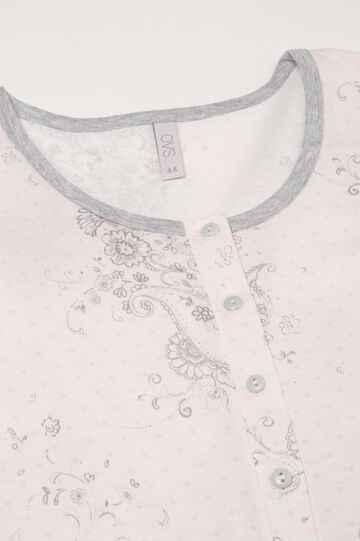 Nightshirt with pattern and buttons, Milky White, hi-res