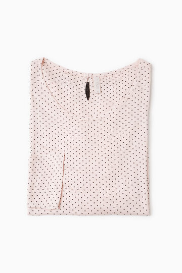 Lace pyjama top with polka dots, Light Pink, hi-res