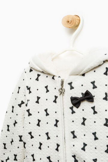 Jacket with all-over bow print, White, hi-res