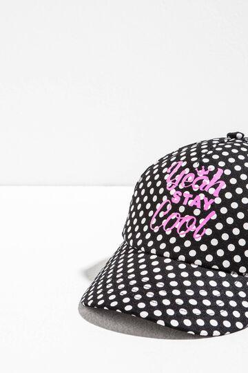 Baseball cap with print and polka dots, White/Black, hi-res