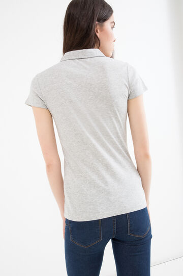 100% cotton polo shirt with gathering, Grey, hi-res