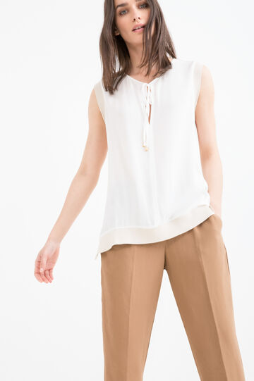 Blouse with tie fastening on neck., Light Beige, hi-res