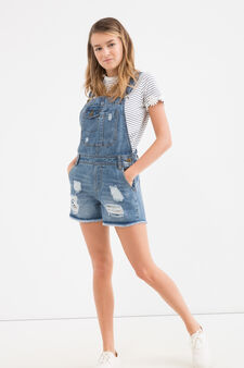 Salopette di jeans effetto used Teen, Denim, hi-res