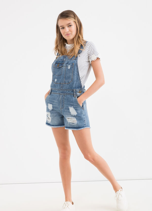 Worn-effect Teen denim dungarees | OVS