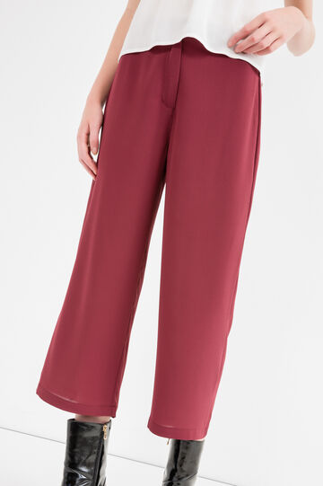 Solid colour stretch crop trousers, Black, hi-res