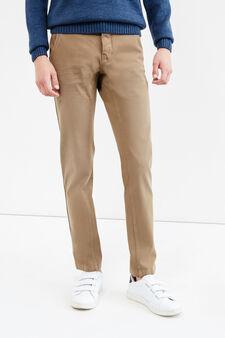 G&H solid colour stretch cotton trousers, Beige, hi-res