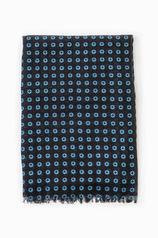 Scarf with fringed edges and flower pattern, Navy Blue, hi-res