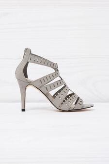 Sandals with heel, Grey, hi-res