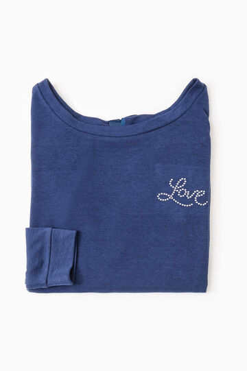 Solid colour pyjama top, Dark Blue, hi-res