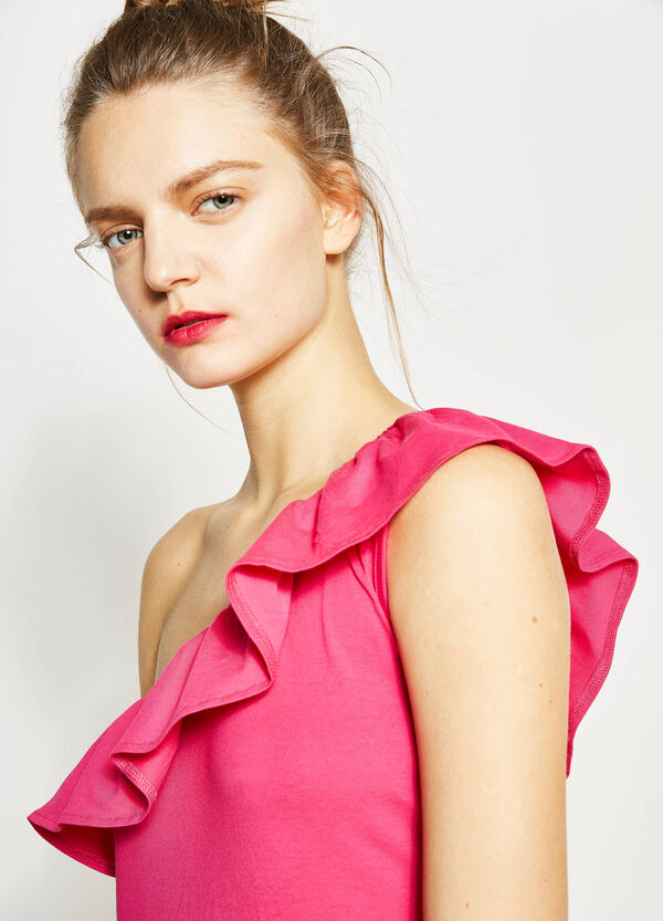 Dress with one shoulder strap and flounces | OVS