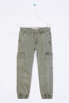 Stretch cotton cargo pants, Green, hi-res