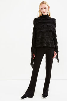 Poncho with fur and fringes, Black, hi-res