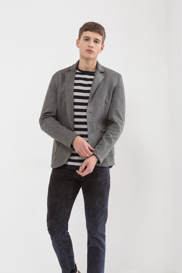 Solid colour 100% cotton jacket., Grey, hi-res