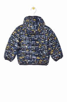 Down jacket with hood, Black, hi-res