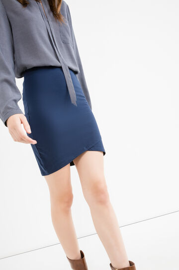 Short skirt in stretch cotton, Blue, hi-res