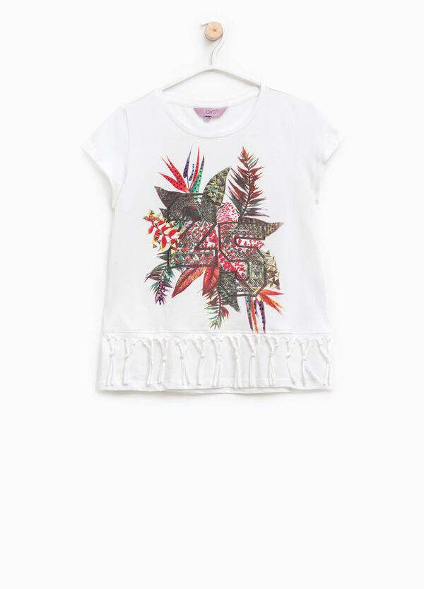 T-shirt stampa glitterata e frange | OVS
