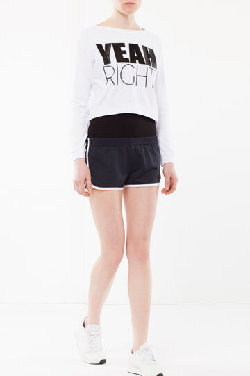 Short T-shirt with long sleeves.