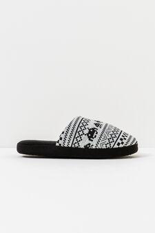 Printed slippers, Black, hi-res