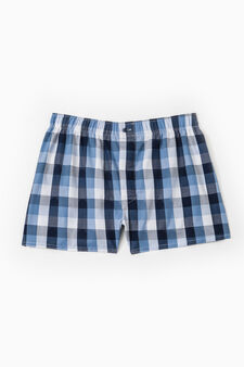 Boxer shorts in 100% cotton with check pattern, Blue, hi-res