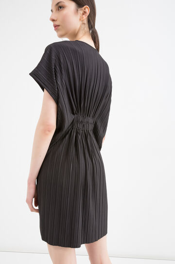 Pleated stretch dress, Black, hi-res