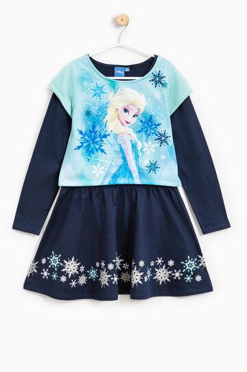 Vestitino con finto doppio e stampa Frozen, Blu, hi-res