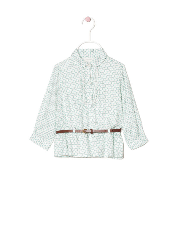 100% viscose shirt with frills | OVS