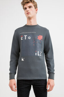 100% cotton sweatshirt with front and back print, Smoke Grey, hi-res