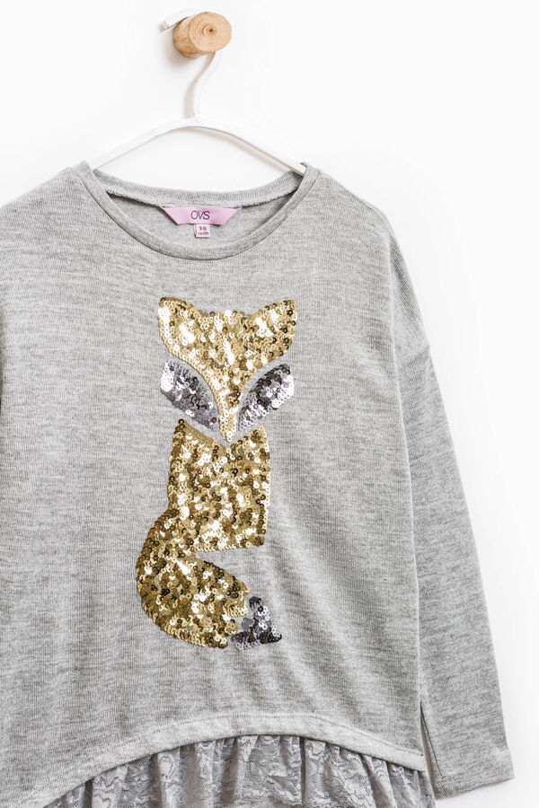 Viscose sweatshirt with sequins and lace | OVS