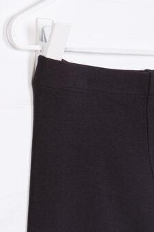 Solid colour stretch leggings, Black, hi-res