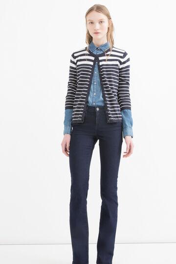 Cardigan puro cotone a righe, Bianco/Blu, hi-res