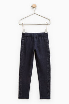 Cotton jeggings with diamanté motif, Blue, hi-res